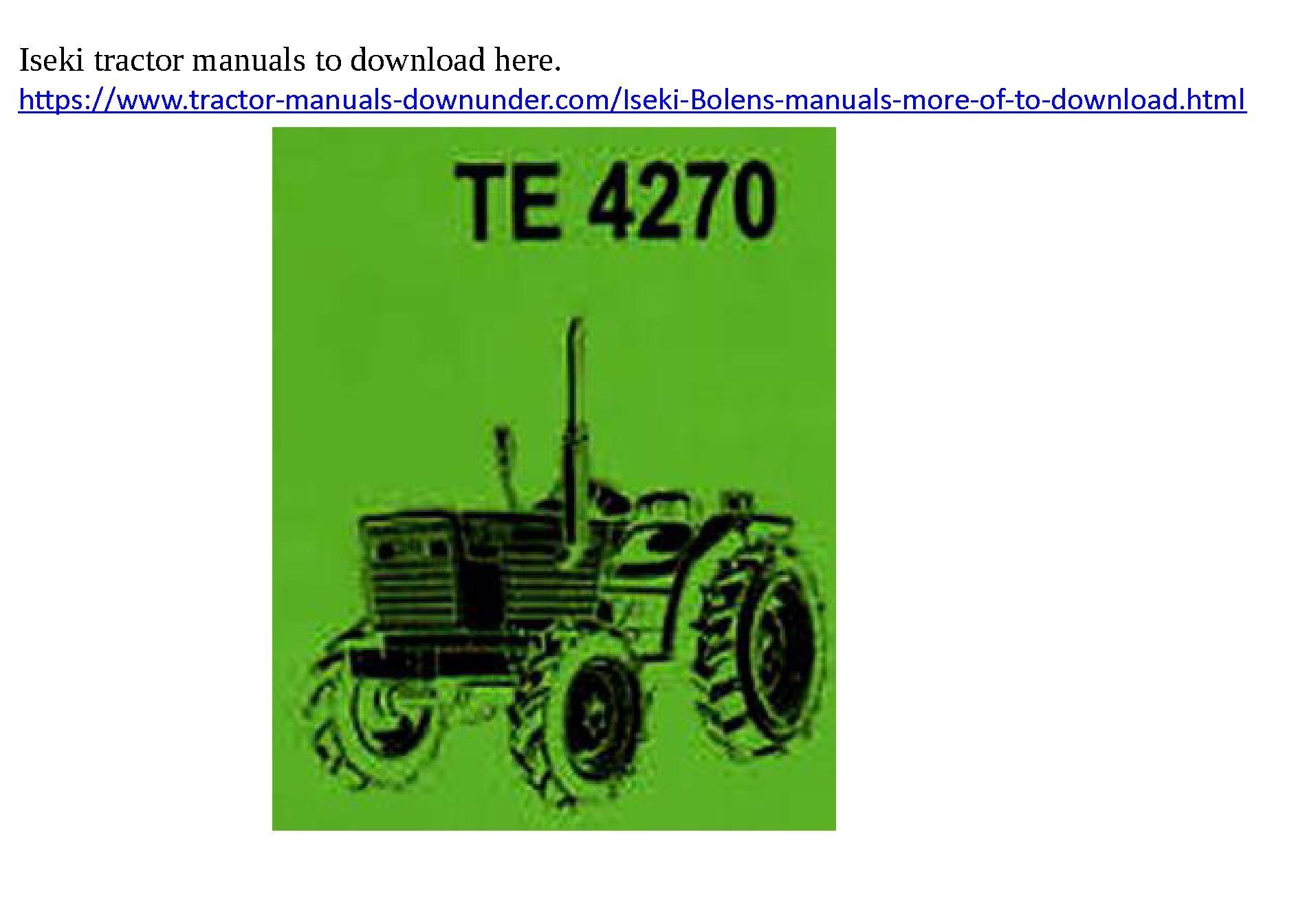 Download your Iseki TE4270 manual