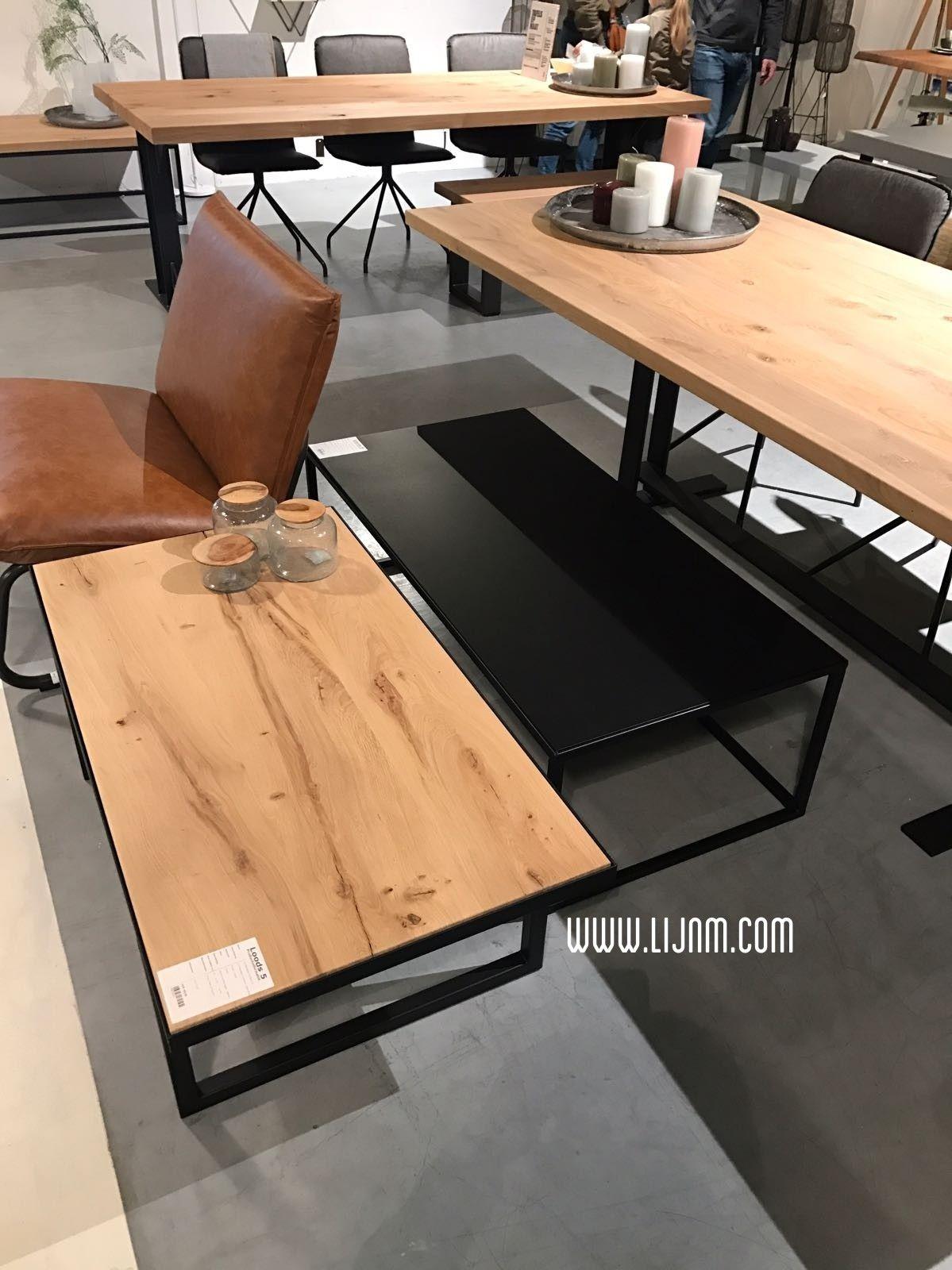 Salontafels zwart staal en eiken van Lijn M / Common Label