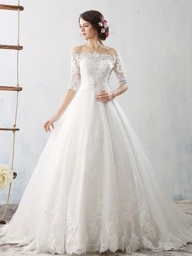 Lace Off the Shoulder Half Sleeve A,Line Wedding Dress