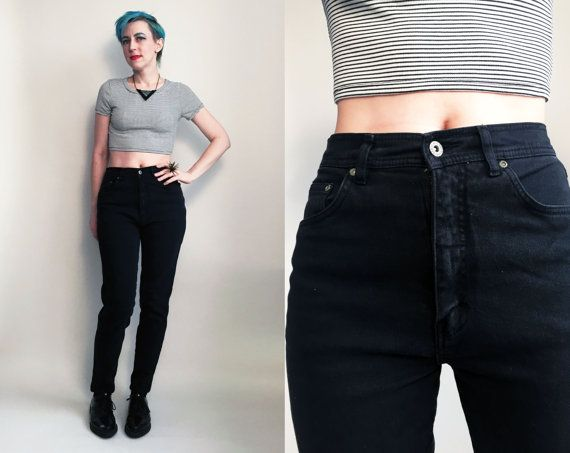 70a3caa17e7 80s Clothes  1980 s Black Jeans Vintage Bill by trashedbytime ...