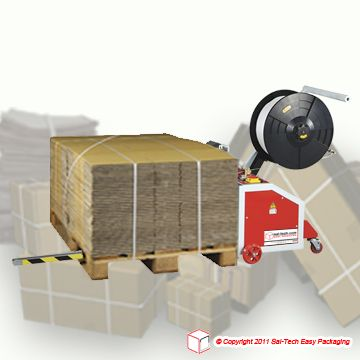 Step Tp 202mv Mini Vertical Pallet Strapping The Easy Way Place The Machine To The Pallet And Wrap The Tape Around Corrugated Card Pallet Corrugated Cardboard