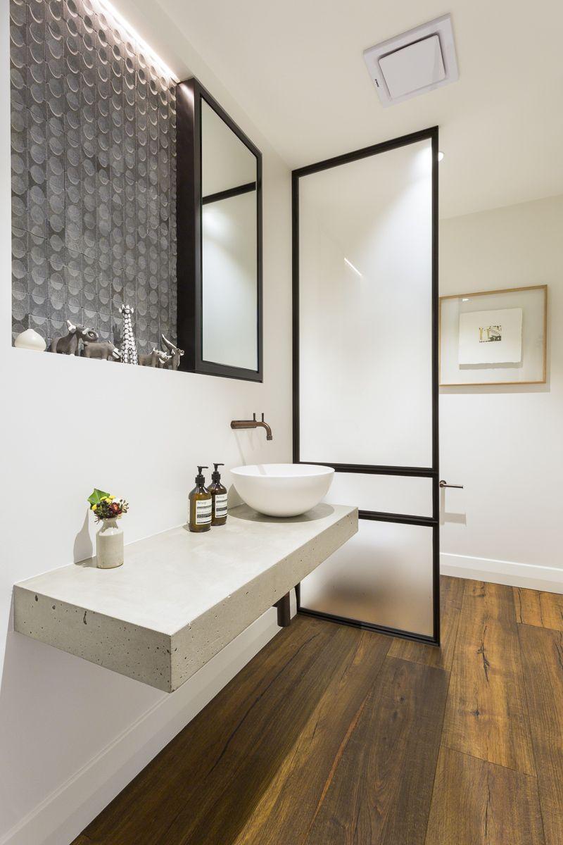 Lovely Steel Shower Screens Australia     Fixed Single Panel Divider For Powder  Room.