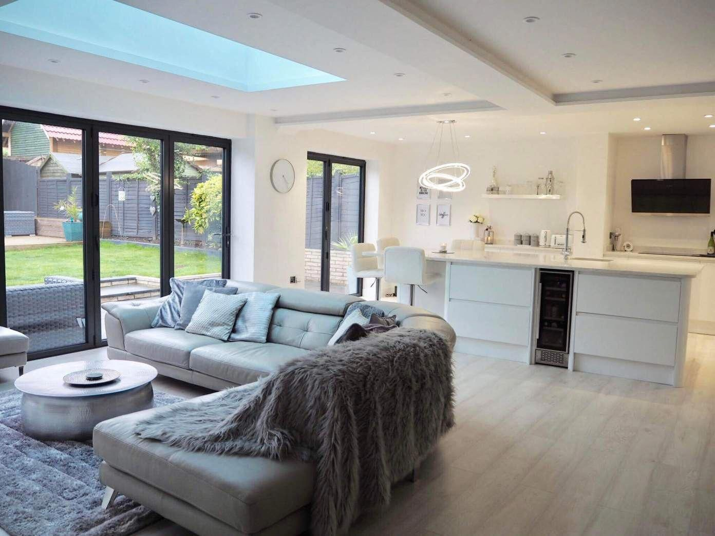 Scandinavian Inspired White Modern Contemporary Open Plan Kitchen Living Room Wi Contemporary Open Plan Kitchens Open Plan Kitchen Living Room Open Living Room