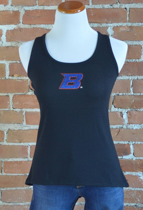 Team 44 Apparel - BOISE STATE UNIVERSITY, CURVED HEM TANK with Retro 'B' Nailhead Logo