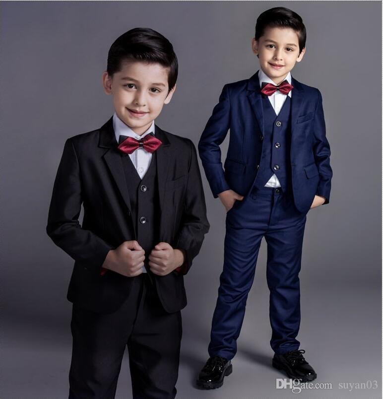5pcs Fashion Baby Boys Kids Blazers Boy Suit For Weddings Prom Formal Black Navy Blue Dress We Traje Para Ninos Boda Trajes Ninos Boda Ropa Elegante Para Ninos