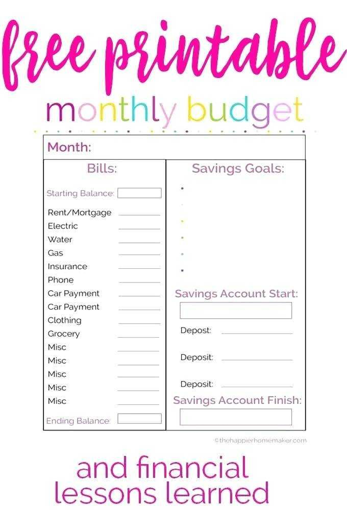 financial savings plan spreadsheet unique free monthly