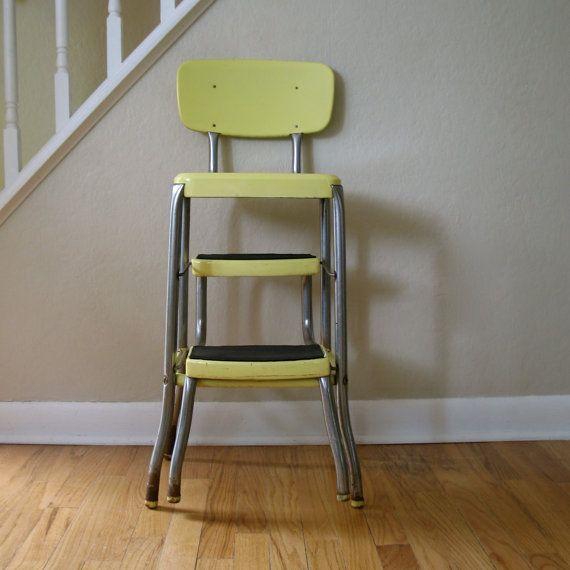 Amazing Vintage Yellow Metal Stool Home Sweet Home Pinterest Spiritservingveterans Wood Chair Design Ideas Spiritservingveteransorg