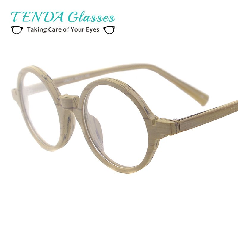 ad6bf46efcb sale acetate small spectacles round wood texture vintage glasses frames for eyeglass  lenses  round  reading  glasses