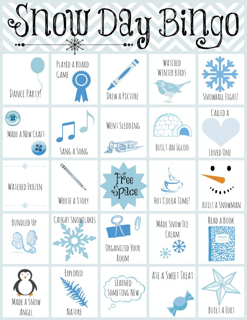Printable Snow Day Bingo Printable Kids Crafts Winter Crafts