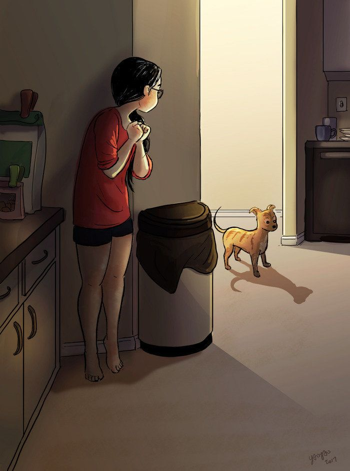 Artist Perfectly Captures The Intimate Magic Of Living Alone Huffpost Girl And Dog Alone Art Cartoon Art