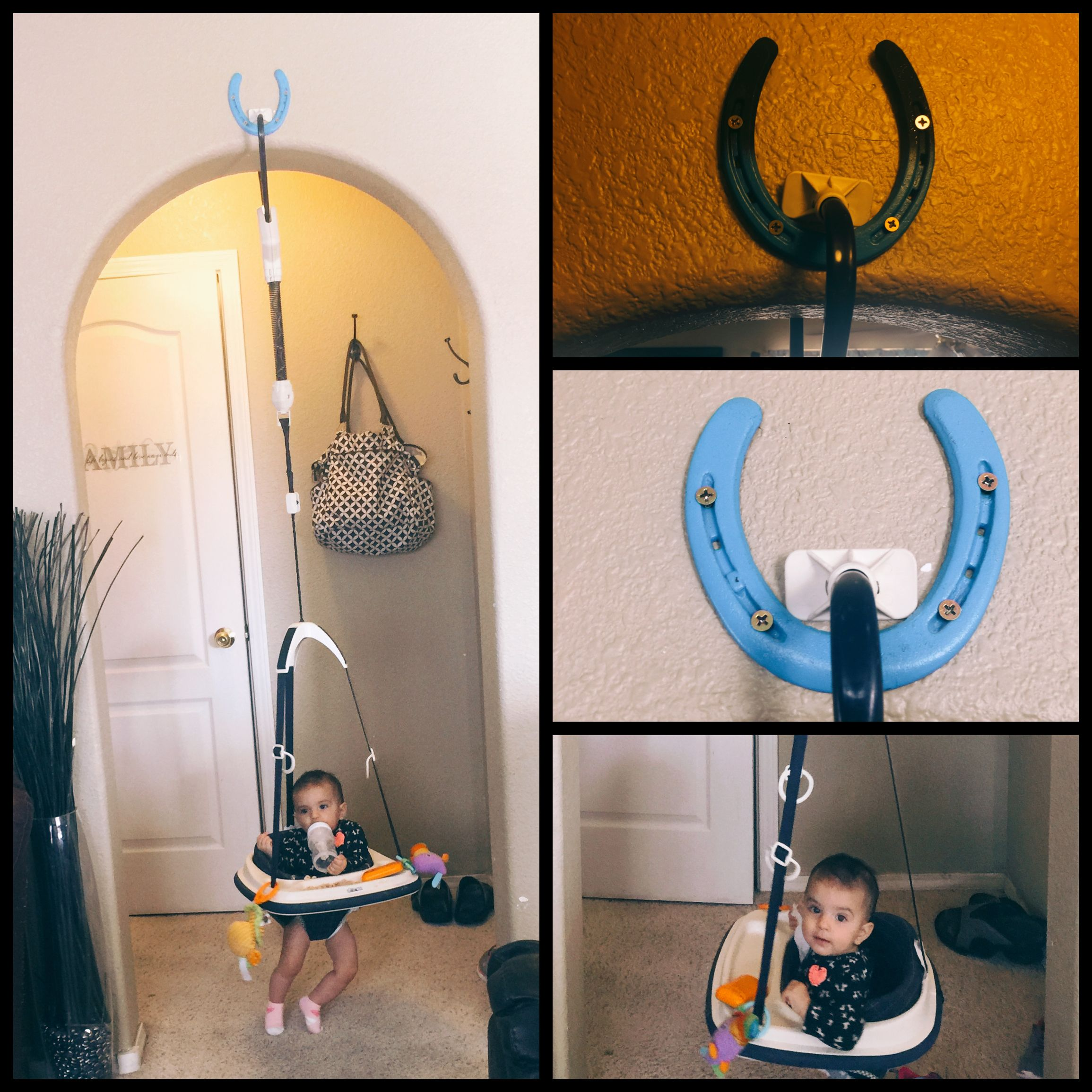 3e2c47299 JOHNNY JUMP UP HANGING IDEA! USE HORSESHOES!! If you live in New ...