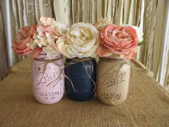 Mason jars painted rustic wedding