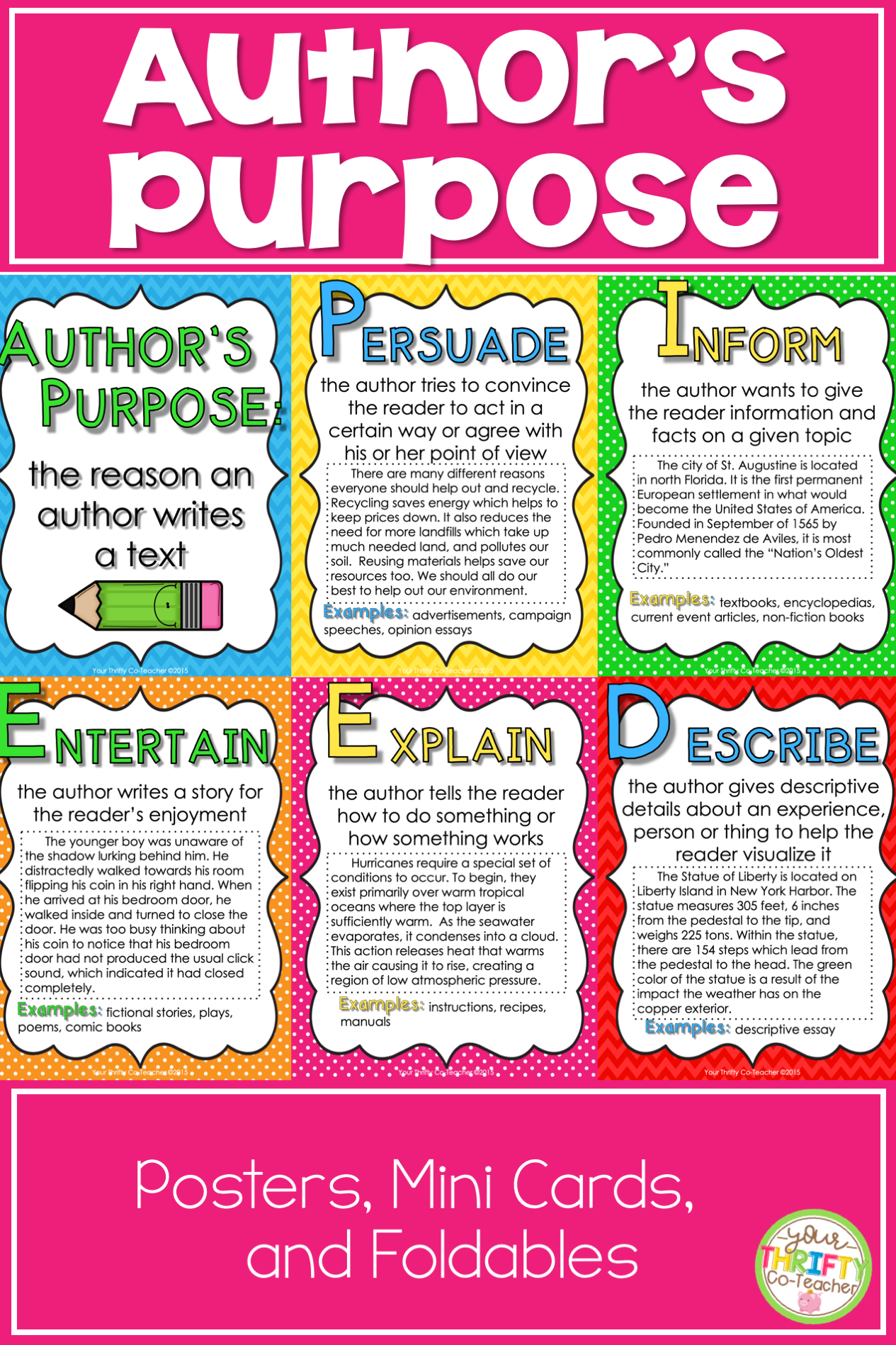 Author S Purpose Posters Mini Cards Worksheet In