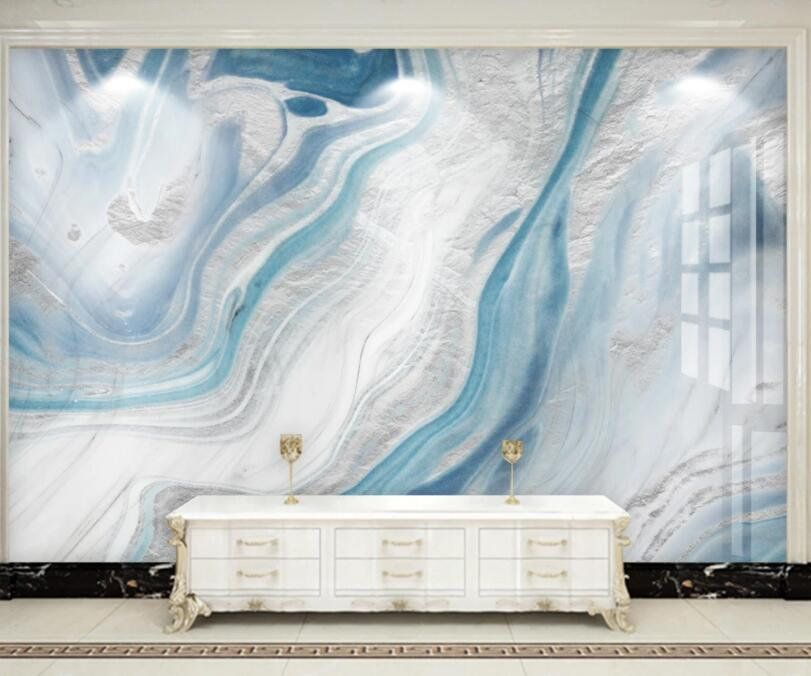 Abstract Blue Marble Wallpaper Hand Painted Marble Wall Murals Wall Decor For Living Or Dinning Room Marble Wall Mural Marble Wallpaper Blue Marble Wallpaper