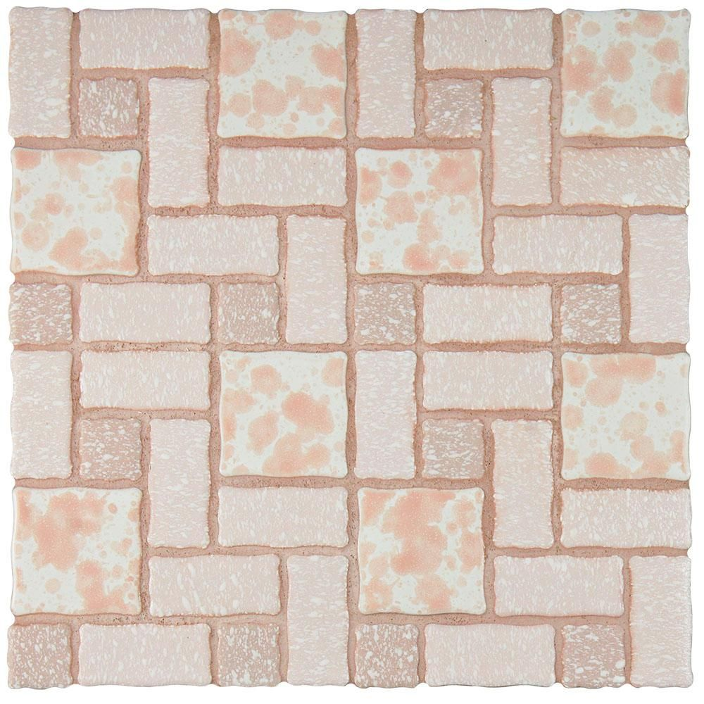 Merola tile academy pink 11 34 in x 11 34 in x 5 mm porcelain the merola tile academy pink in x 5 mm porcelain mosaic tile is reminiscent of traditional multi texture and multi color porcelain mosaic floor tile dailygadgetfo Gallery