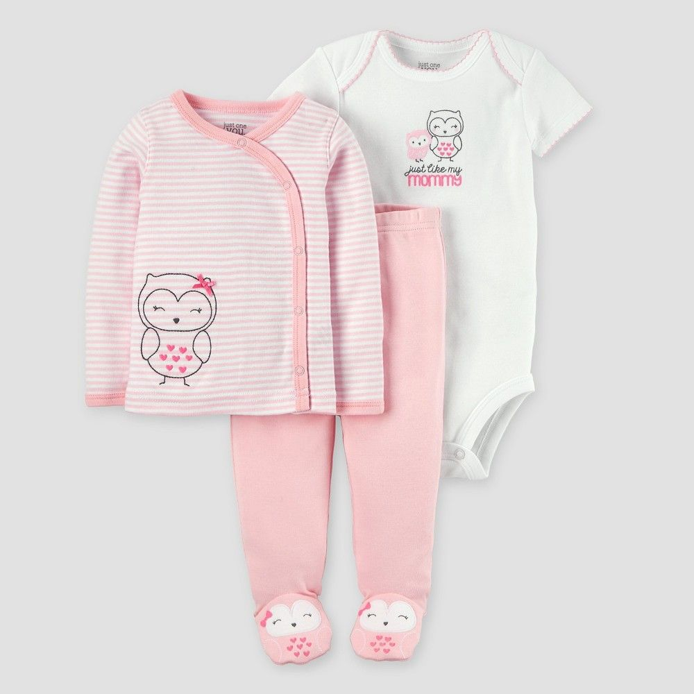 ecb43f0e5 Baby Girls  3 Piece Side Snap Tee Layette Set Owl Always Rosy Pre ...