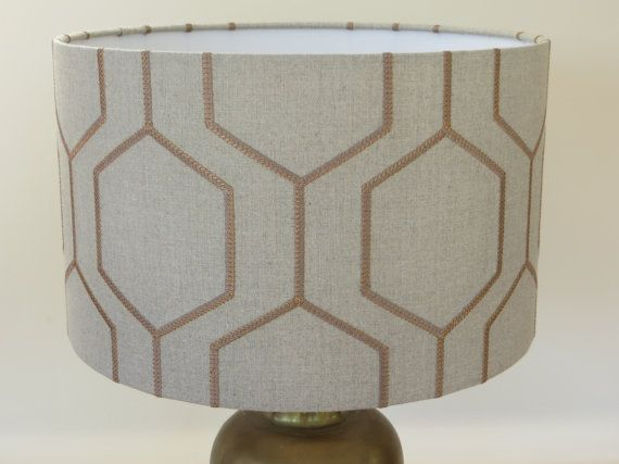 Bespoke Grey And Copper Geometric Embroidered Lampshade In Casadeco Hexegone Custom Made In Your Choice Of Your Shape And Size Handmade Lampshades Lamp Shades White Lamp Shade
