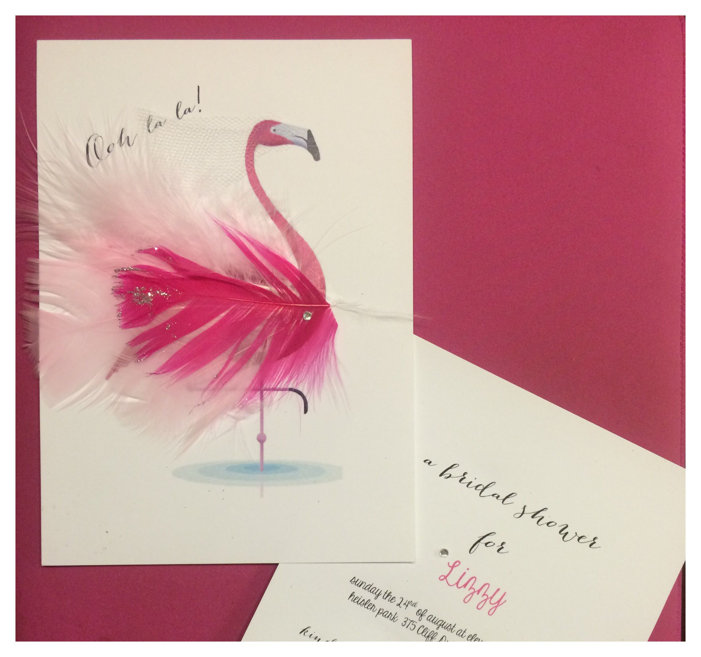 Bridal shower invitations. Fancy flamingos. Pretty in pink. Ooh la ...