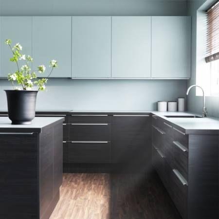 Haut Blanc Bas Gris Fonce Ikea Kitchen Inspirations Kitchen Interior Ikea Kitchen