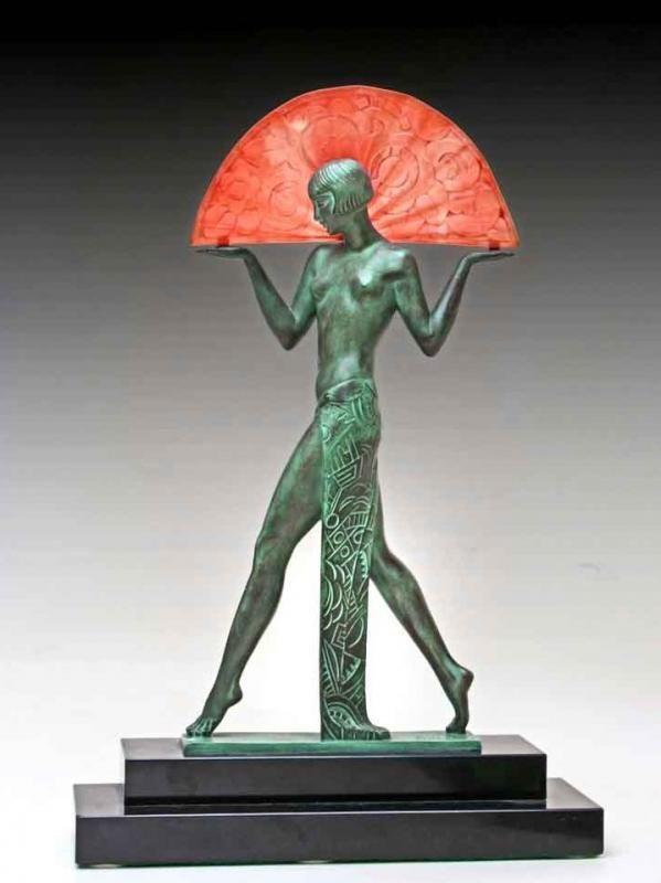 Pierre Le FAGUAYS - Max Le VERRIER Lampe sculpture bronze Art Déco 1925