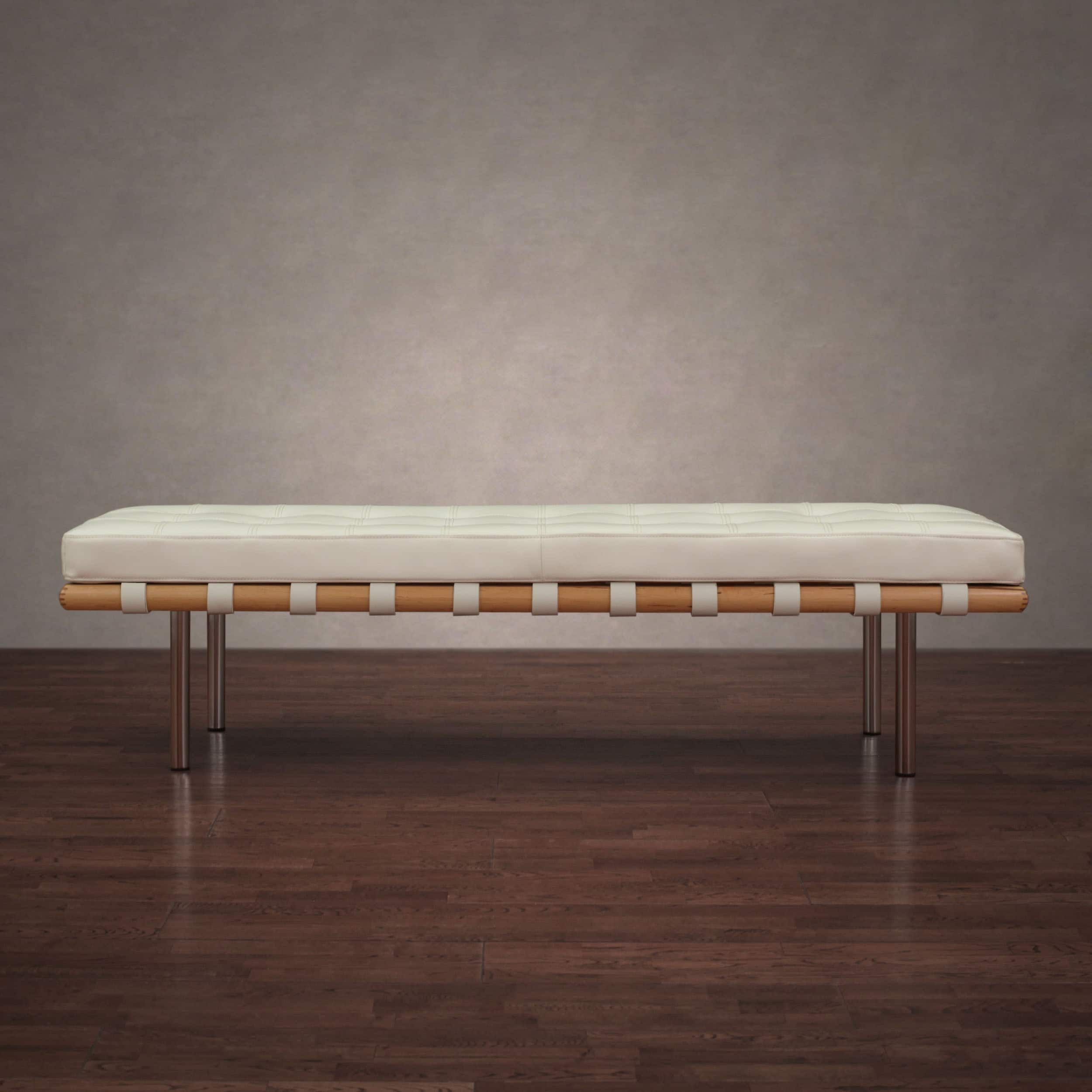 Andalucia Modern White Leather Bench Large 60 Inch Leather Bench Furniture Deals Furniture