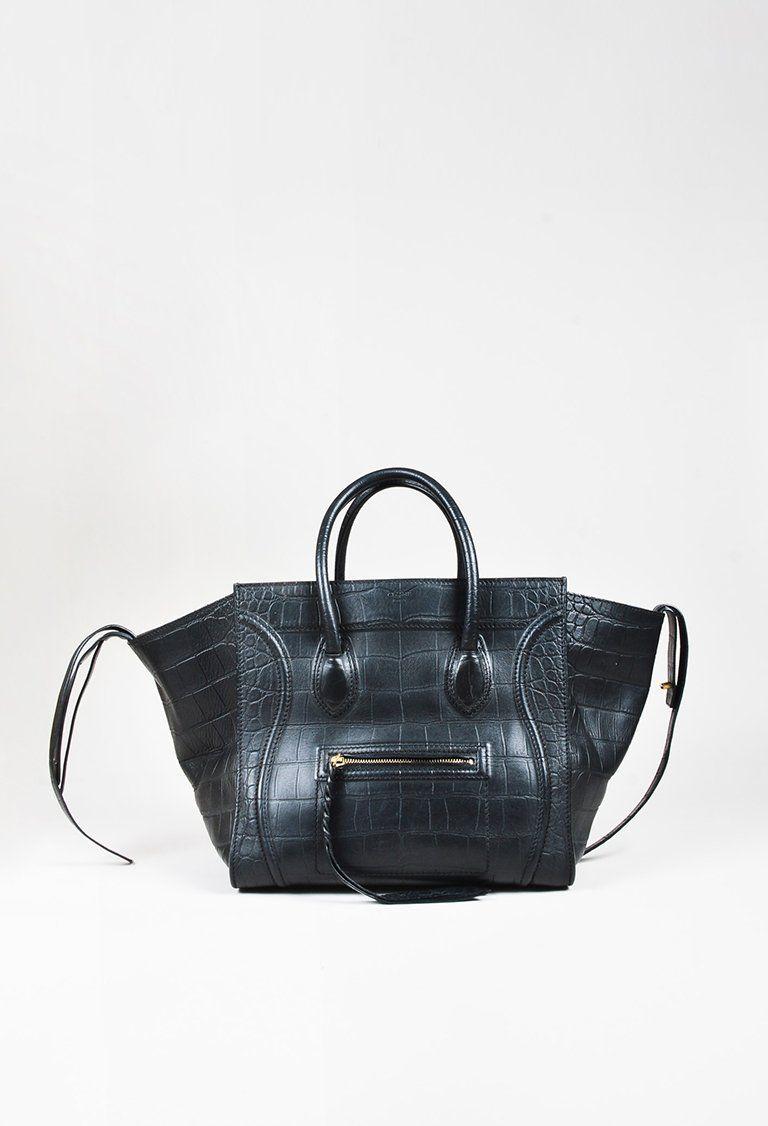 e06f778bde Céline - Black Leather Croc Embossed Medium
