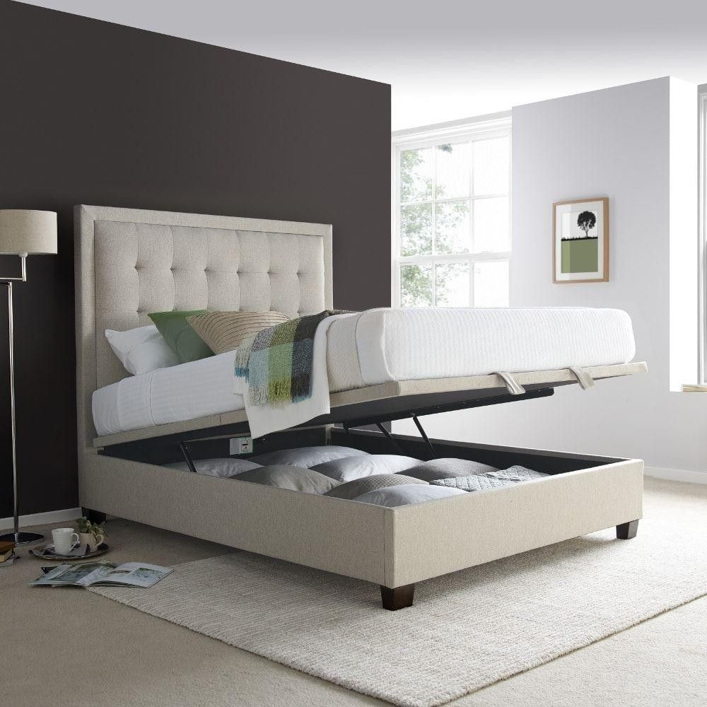 Best Metro Oatmeal Ottoman Fabric Bed 5Ft King Size Ottoman 640 x 480