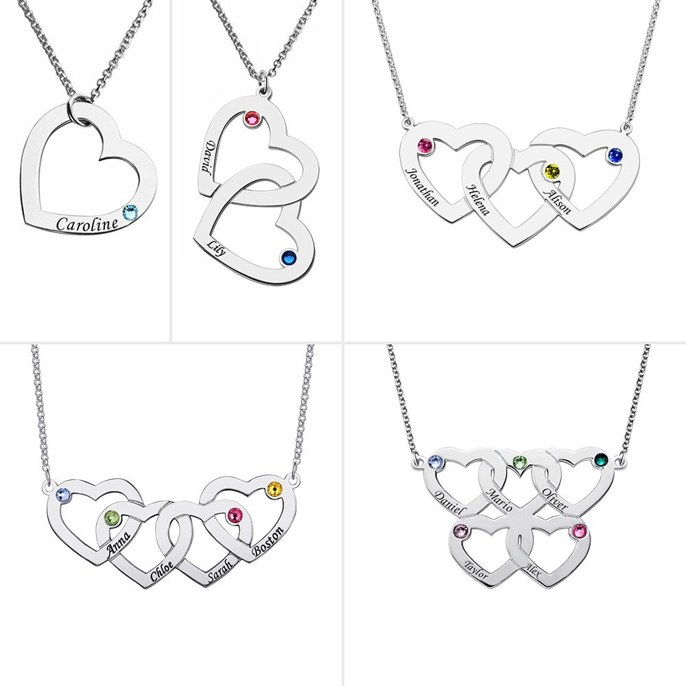 Getname Necklace Sterling Silver Personalized Necklace Mom Heart Necklace with Birthstones for Mom Jewelry