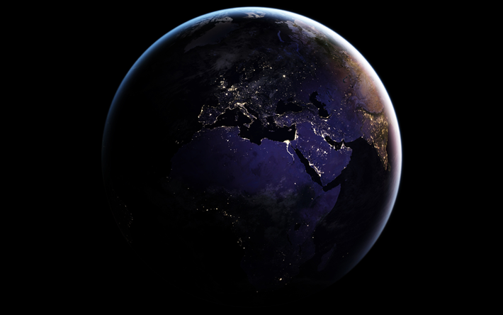 Download Wallpapers Earth 4k Continents Africa Europe View From Space Planet Earth From Space Besthqwallpapers Com Earth At Night Wallpaper Earth Earth From Space
