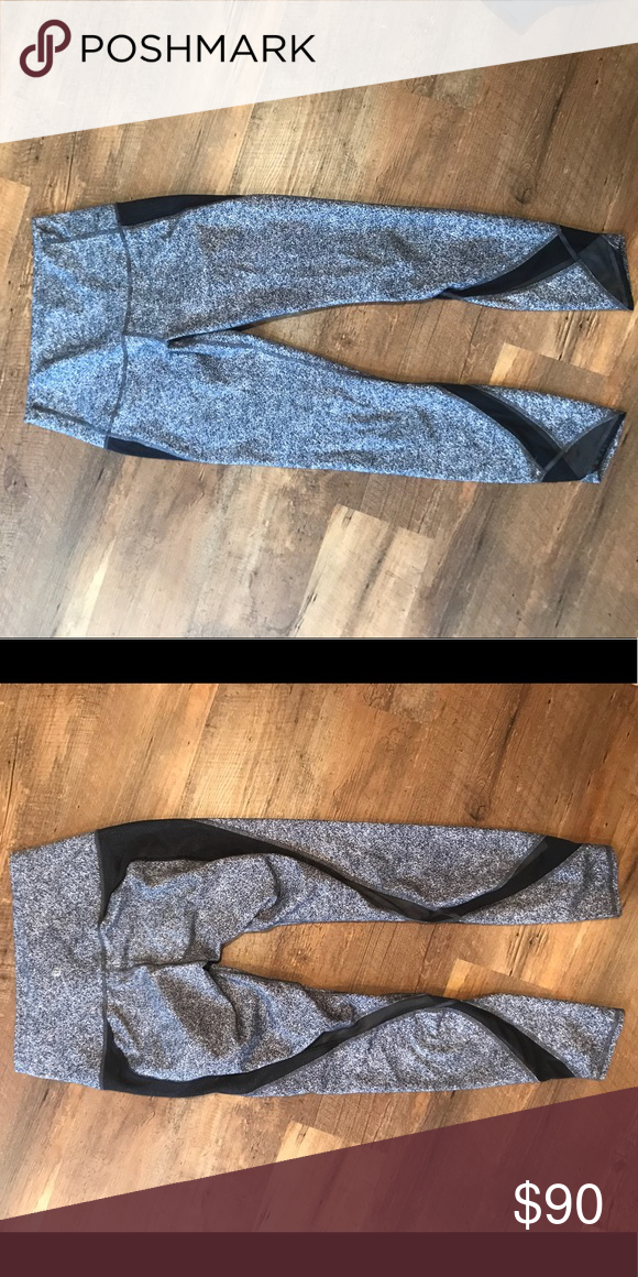 f6bafd5218 Super cool mesh features on front and back of legs. Speckled white/grey/Black,  high waisted. Perfect condition lululemon athletica Pants Leggings