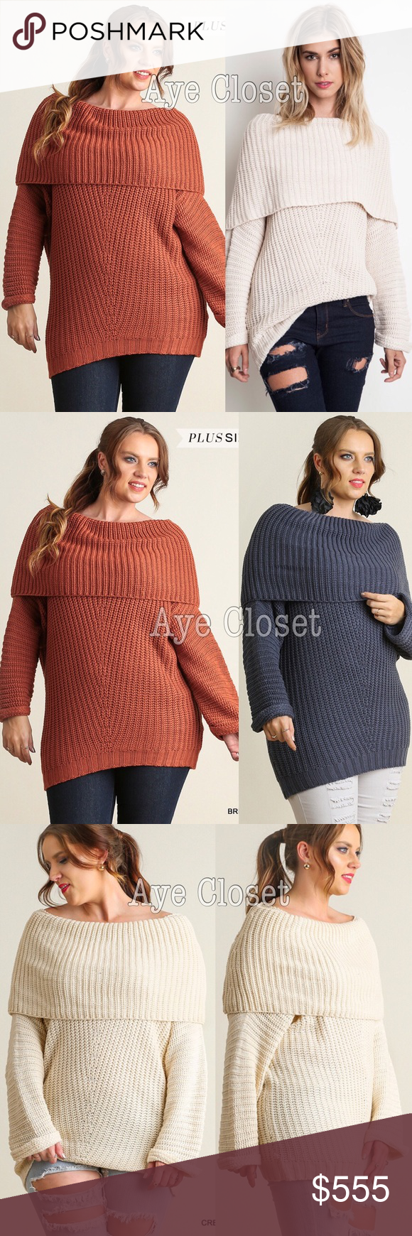 c7c552c047a Plus size Knit chunky sweater tunic top rust sexy This listing Is for Rust Brick  color knit soft chunky ribbed tunic sweater top. fold over neck