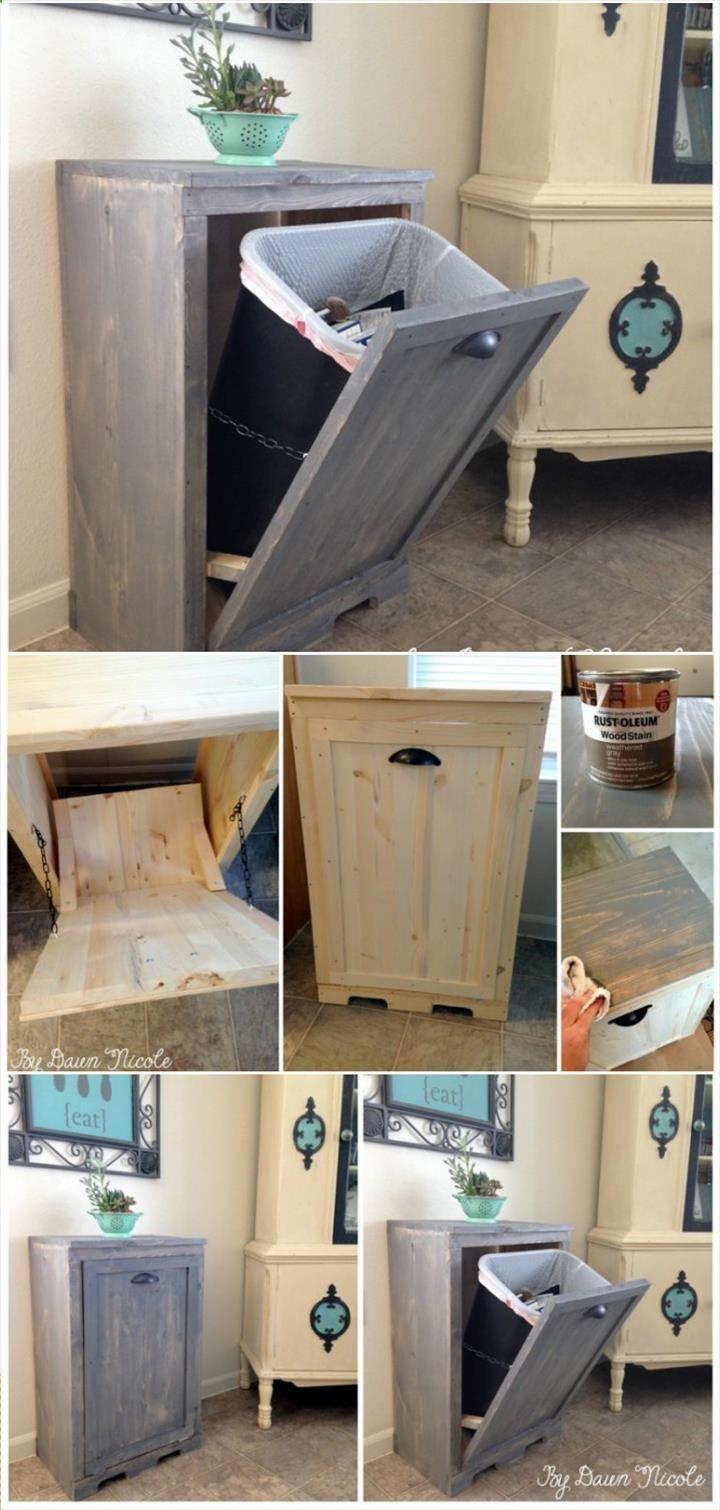 Hand built wooden tilt out trash can cabinet genius diy home decor also rh pinterest