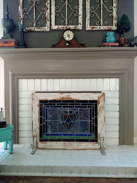 From Stain Glass To Fireplace Screen Diy Fireplace Farmhouse
