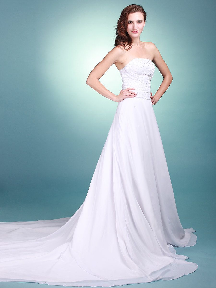 Strapless A Line Reception Gown with Beaded Bodice   Love ...