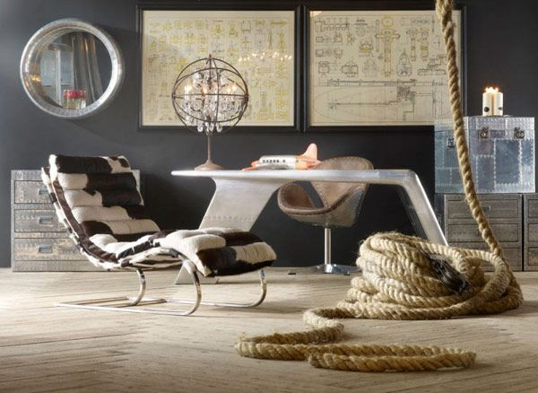 Vintage Room Design, Futuristic Desk Design + Thick Shipping Rope #navy