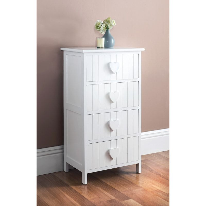 Karina Heart 4 Drawer Chest White White Chests Exclusive Furniture Chest Of Drawers