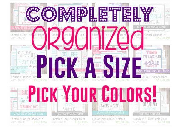 Completely Organized Kit- Pick a Size! A5 Size OR Full Sized Items. Pick Your Colors! One scheme or Mix & Match!