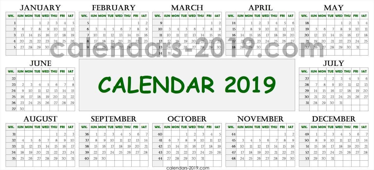 2019 Calendar Week Numbers Printable Printable Numbers Weekly
