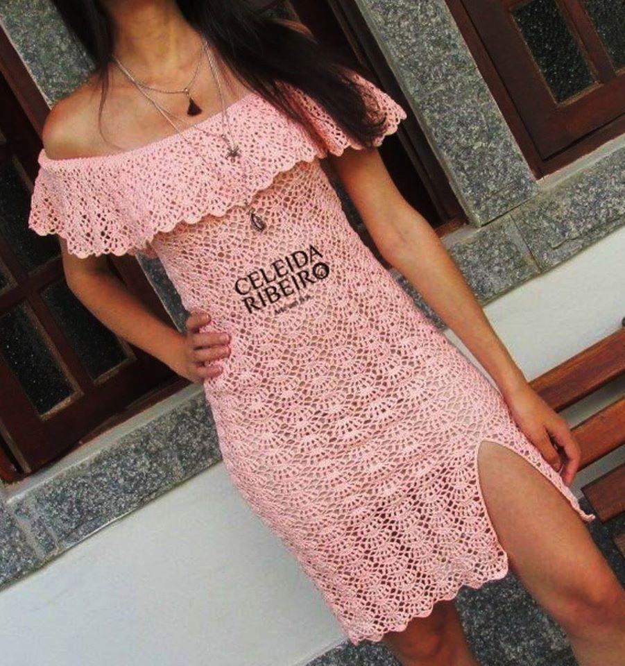 Patron #1800: Vestido Campesino a Crochet | BELLOS VESTIDOS ...