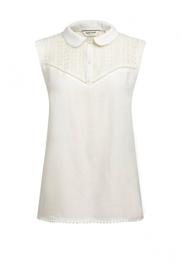 472336a305ce4 Naf naf blouse sans manches ecru 1. Ladies TopsBlousesCouture ...