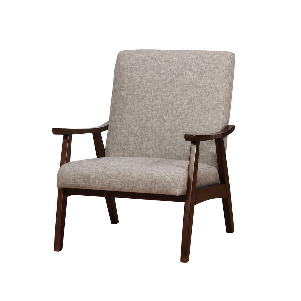 Wondrous Furniture Of America Henly Light Gray Linen Solid Wood Bralicious Painted Fabric Chair Ideas Braliciousco