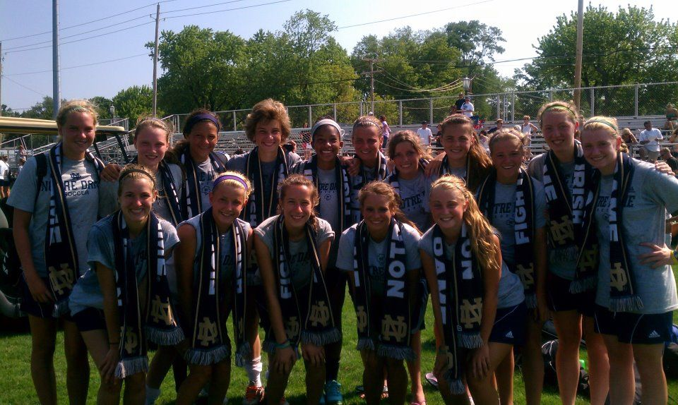The Notre Dame Women's Soccer team with custom Notre Dame