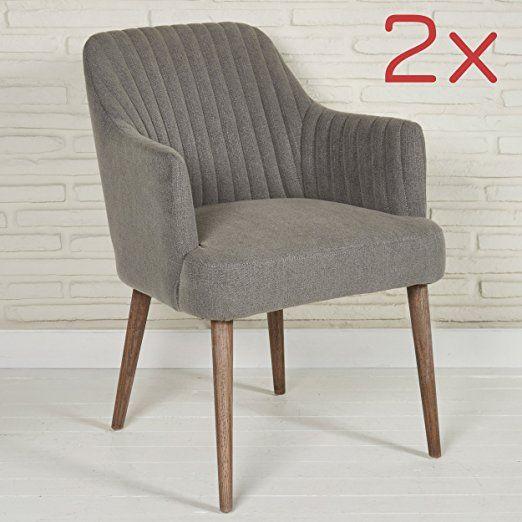 Elegnate Polsterstühle 2 Stück Sessel Für Wohnzimmer Oder Esszimmer   Designer  Sessel Stoff In Grau Mit Armlehnen
