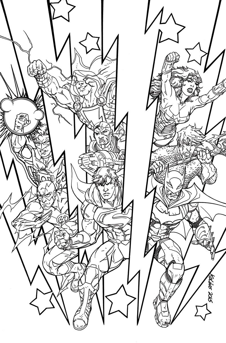 JUSTICE LEAGUE #48 Adult Coloring Book Variant cover by SCOTT KOLINS ...
