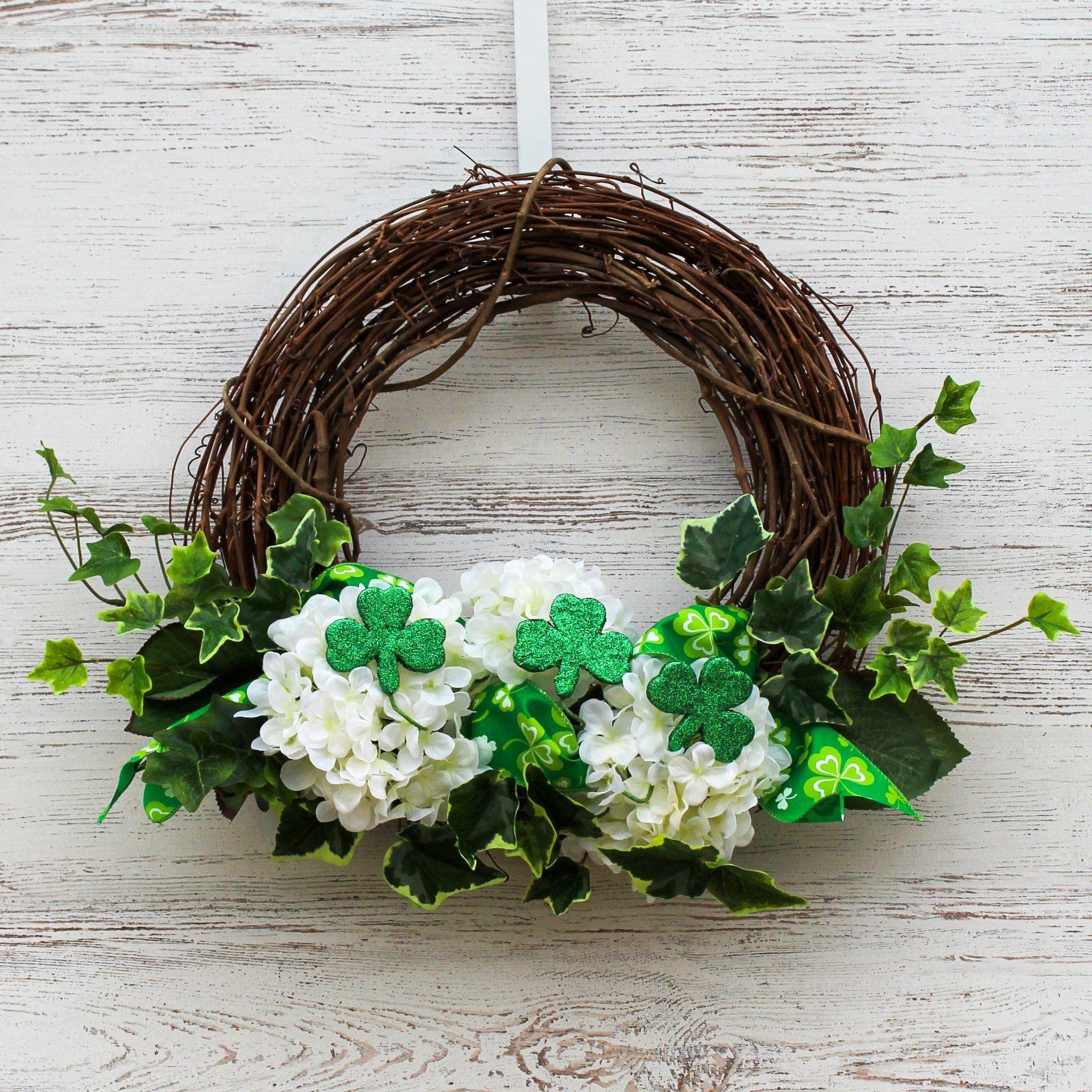 Green glitter shamrock ivy white hydrangea asymmetrical