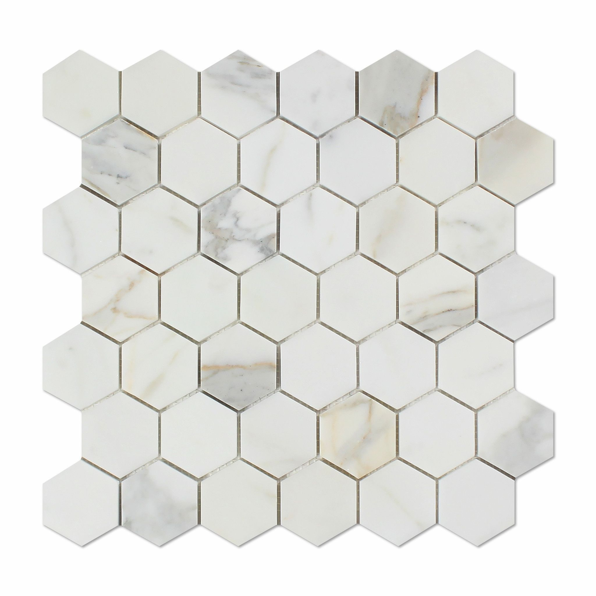 Calacatta Gold Marble Honed 2 Hexagon Mosaic Tile In 2020 Hexagon Mosaic Tile Calacatta Gold Marble Hexagonal Mosaic