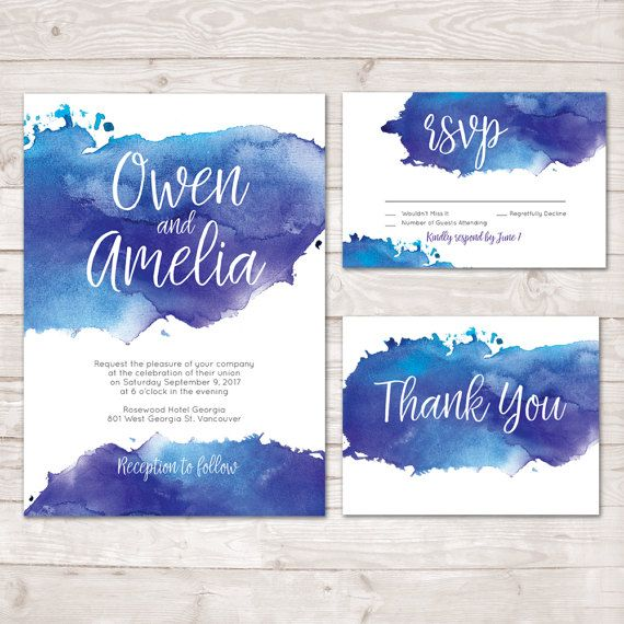 Watercolor Wedding Invitation, Watercolor Invite, Thank you card ...