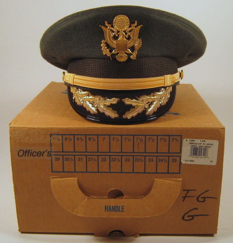 35466104c9c US Army Field Grade Officer Service Dress Greens Hat Cap with Bullion   Box