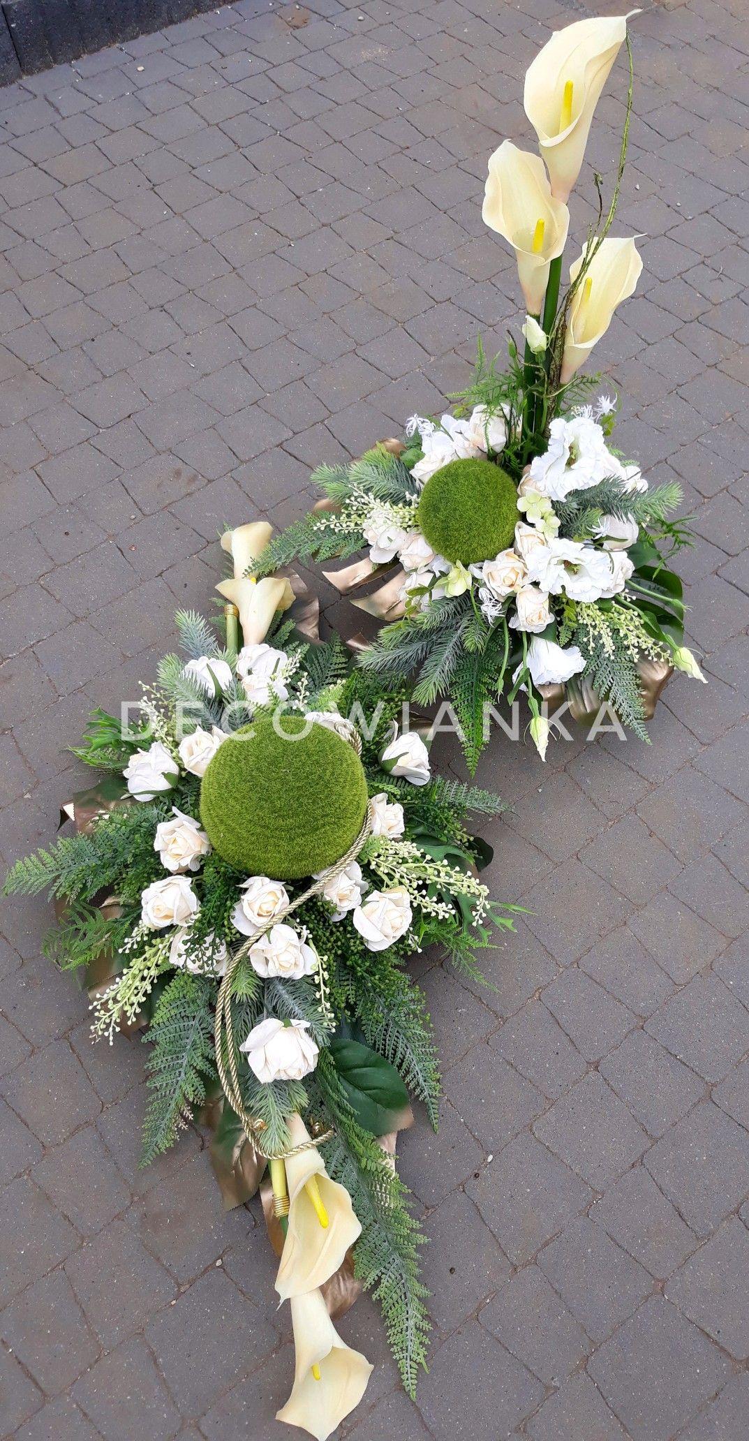 Kompozycja Nagrobna W Zestawie Z Dominacja Zlota I Zieleni Z Nutka Bieli Funeral Flower Arrangements Church Flower Arrangements Funeral Floral