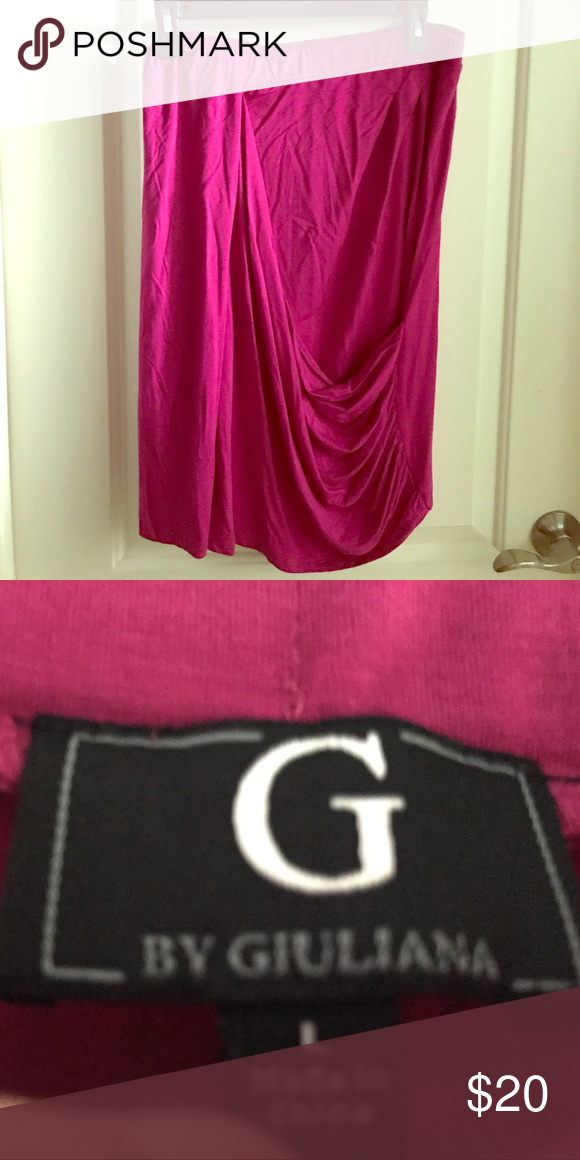 NWOT DRAPE FRONT SKIRT G by Giuliana Beautiful Pink Drape Front skirt Rayon Spandex by Giuliana, Never worn Size L Elasticwaist 16 laying flat  24 inches long G by Giuliana Skirts Midi